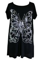 New Ladies Black Sequin Butterfly Tunic Top Plus Sizes 16 - 28