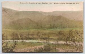 White-Sulphur-Springs-WV-Handcolored-Greenbrier-Mountains-Sulphur-Hill-1928-PC