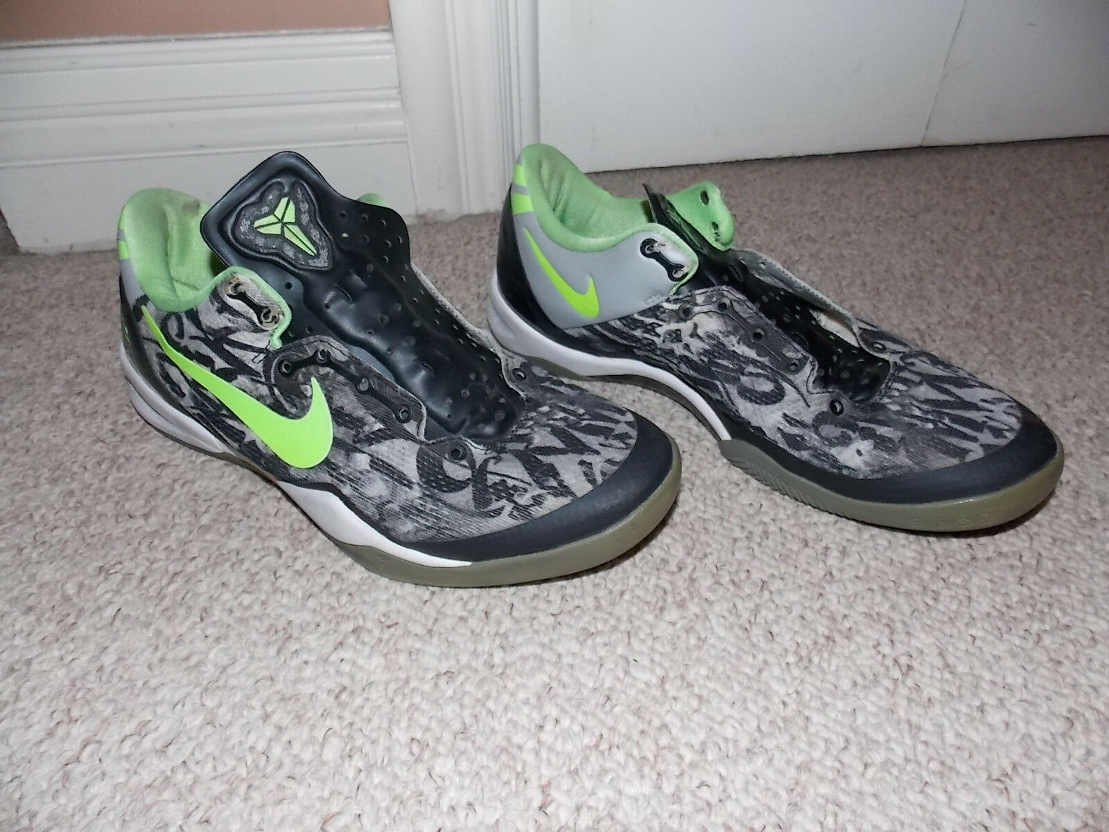41a380e00a69f3 NIKE NIKE NIKE KOBE SYSTEM 8 VIII GS Graffiti White Black Grey Lime shoes  456365