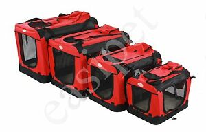 Fabric-Soft-Pet-Crate-Kennel-Cage-Carrier-House-Dog-Cat-Red-New