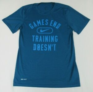 NWOT-NIKE-DRI-FIT-GAMES-END-TRAINING-DOESN-039-T-BLUE-SMALL-ATHLETIC-T-SHIRT-D201