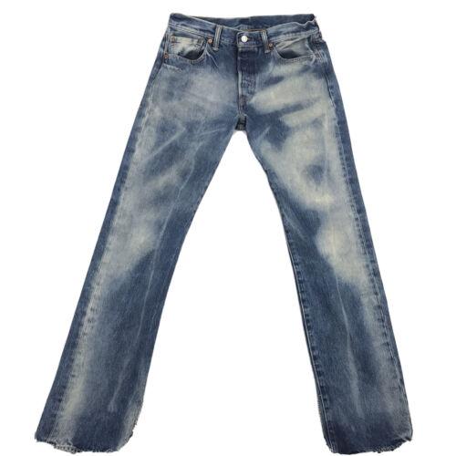 Levis 501 Mens Blue Denim Distressed Jeans Sz 32W - image 1