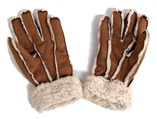 LADIES TAN SUEDETTE SHEARLING GLOVES S//M