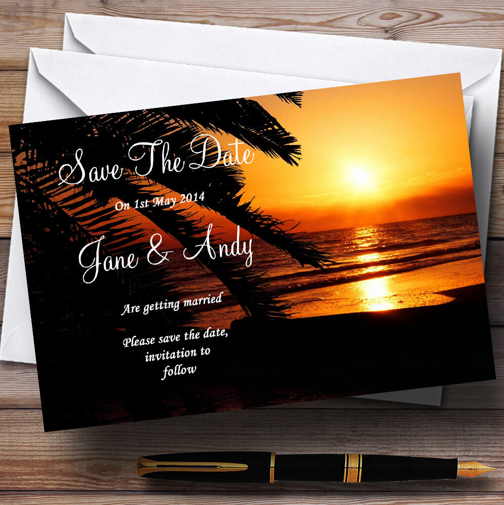 Gorgeous Florida Sunset Beach Personalised Wedding Save The Date Cards