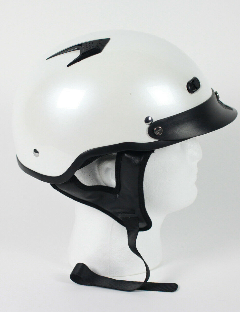 Motorcycle Shorty Helmet D.O.T Approved  - Pearl White