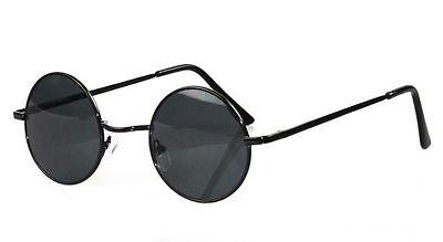 John Lennon Sunglasses Round Hippie Hipster Retro Black Frame Black lens