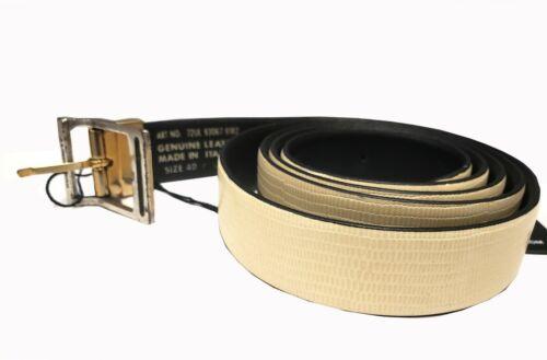 J.Lindeberg Turner Turn Lizard Leather Belt 72UL930678182-Color Off White/&Black