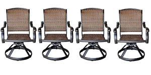 Patio-outdoor-Wicker-Santa-Clara-Swivel-Rocker-Dining-Chairs-set-of-4