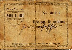 Details about Spain civil war BC/F village of ceuti-murcia/50 £ 1937  series- show original title