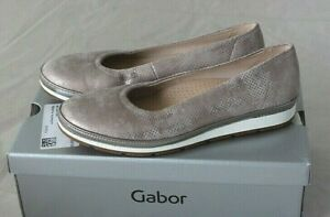 Details zu GABOR comfort Damen Slipper Ballerina Leder taupegold Gr 42,5 43 Weite G NEU X4