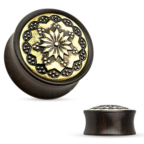 Pair of Floral Tribal  Metal Inlay Ebony Wood Saddle Fit Double Flare Plug E272