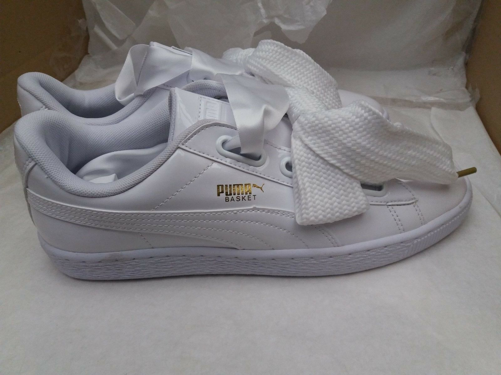 Puma Basket Heart Patent Leather Gloss White gold Trainers 363073 02 UK 7.5