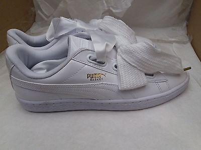 Puma Basket Coeur Cuir Verni Brillant Or Blanc Baskets 363073 02 UK 7.5 | eBay