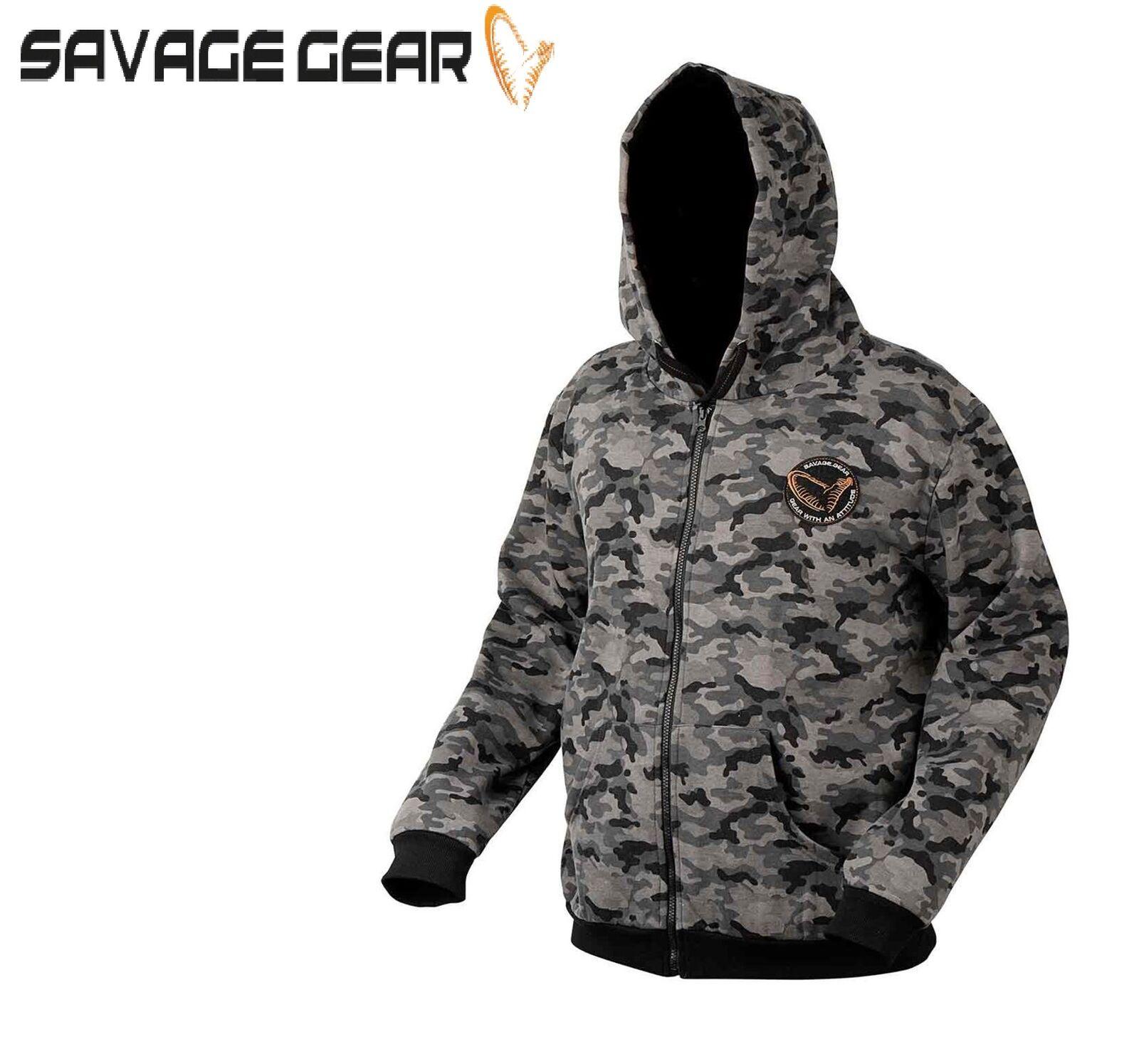 Savage Gear noir Sauvage Camouflage Capuche Fermeture Éclair Pêche Extérieur