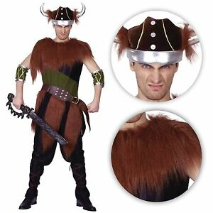 Mens Barbarian Viking Costume Medieval Fancy Dress Fur Saxon Stag