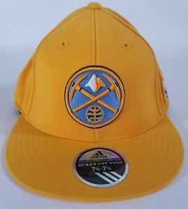 Denver Nuggets ADIDAS Authentic NBA Fitted Yellow Hat Ball Cap Size Men's 7 5/8