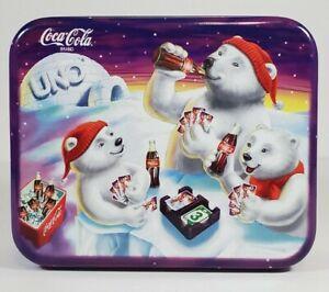 1998 Coca Cola Special Edition UNO Card Game Polar Bears Coke Winter Holiday Tin