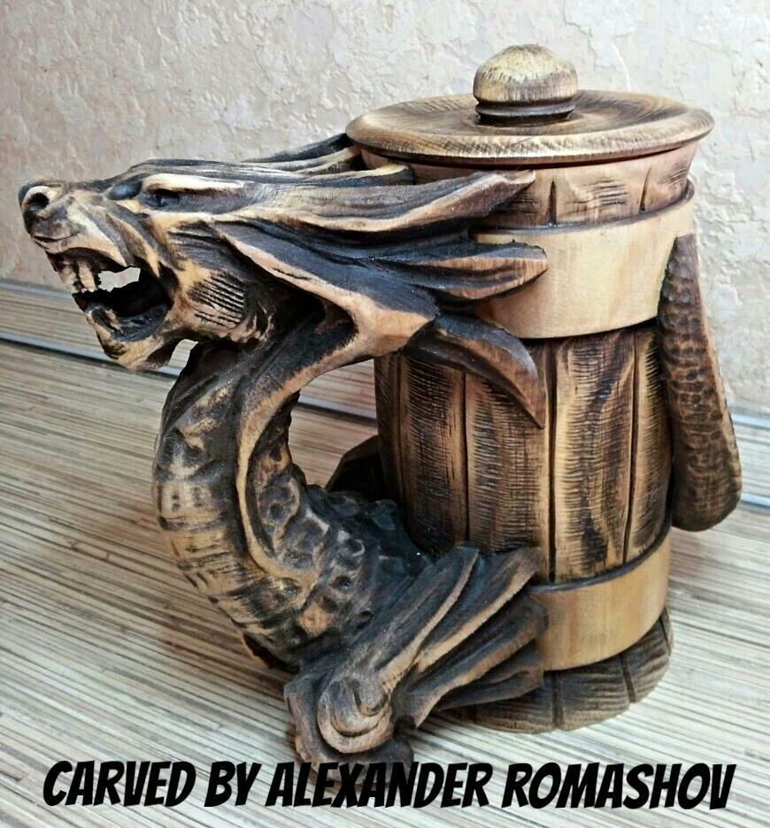 Dragon Wooden Stein Mug Tankard Barrel Cup Beer Handmade Carved Groomsmen Gift