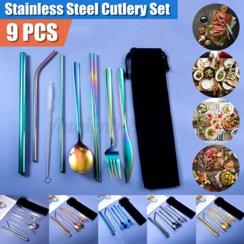 9pc Tableware Portable Silverware Travel//Camping Cutlery Set Knives Fork Spoo
