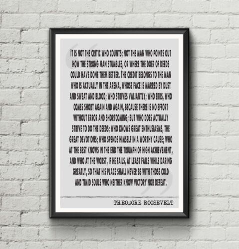 Theodore Roosevelt Man in the Arena Literary quote Art print gift poster