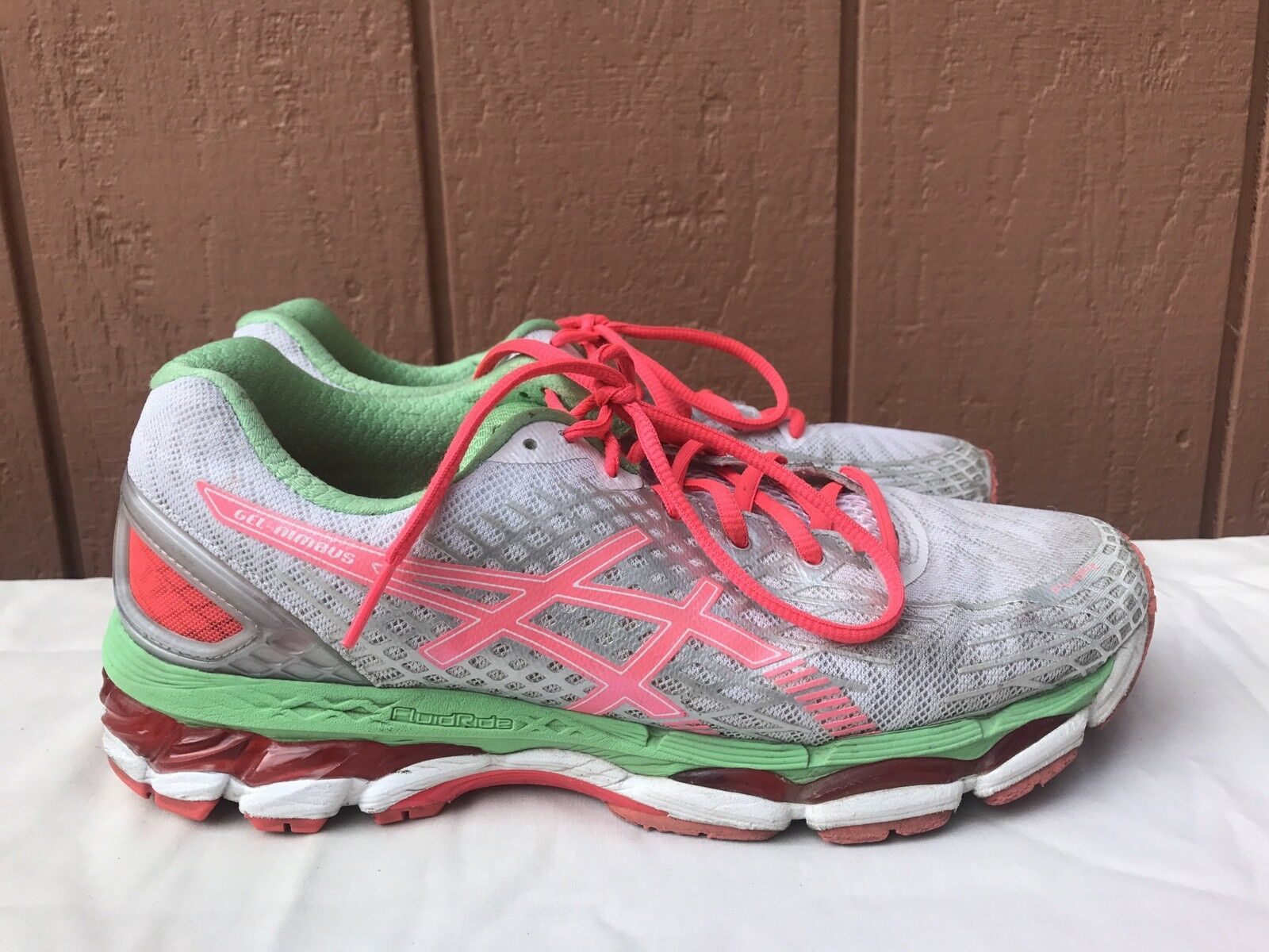Asics Women's Gel Nimbus 17 US 10 Running Shoe White/Hot Coral/Apple T557N Price reduction Seasonal clearance sale