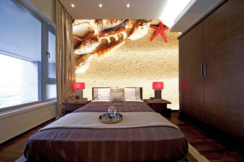 3D Muschel Seestern 864 Tapete Wandgemälde Tapete Tapeten Bild Familie DE Summer | Mama kaufte ein bequemes, Baby ist glücklich  | Einfach zu spielen, freies Leben  | Optimaler Preis