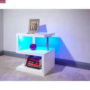 Details About Modern High Gloss White Coffee Table Living Room Led Light Side End Table Shelf