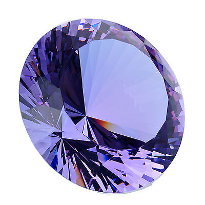 """1 Lavender Glass Crystal Big Diamond Shape Paperweight Giant Shinning Gift 32"""""""