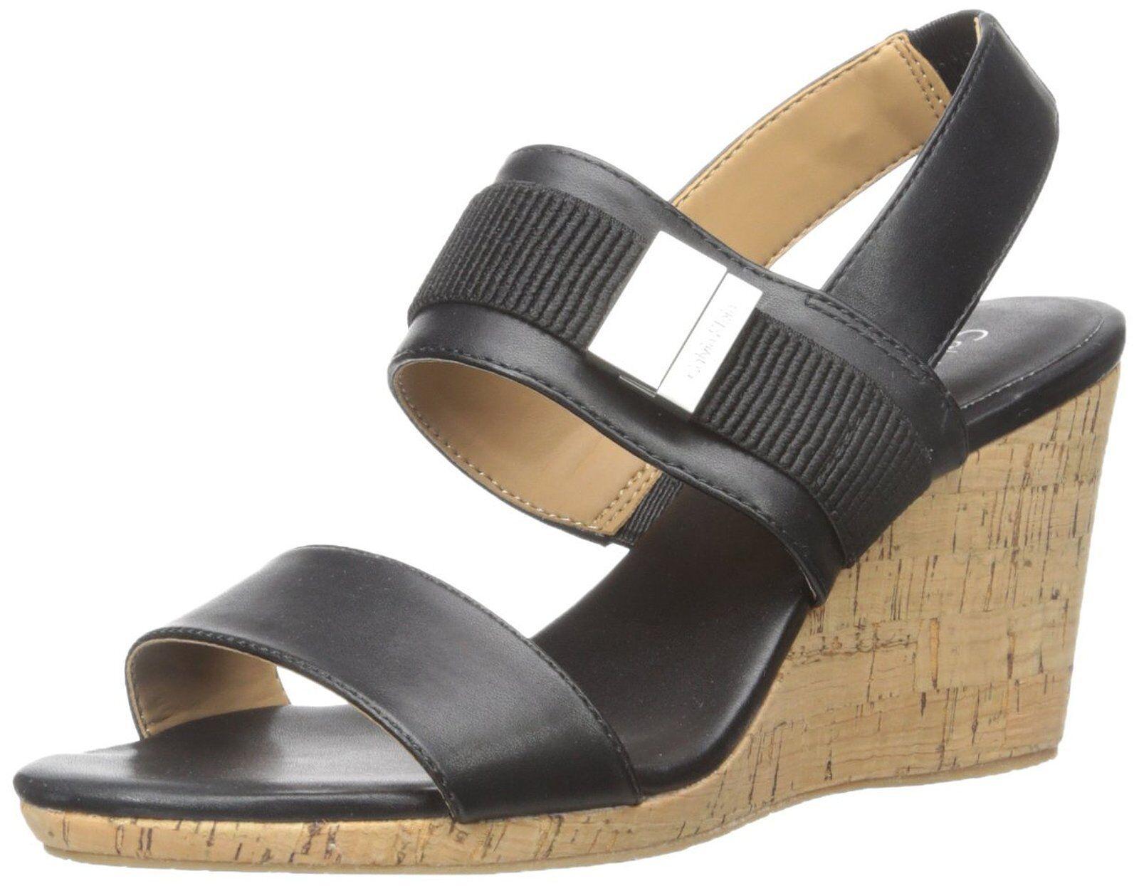 8.5M CALVIN KLEIN BRANDIE BLACK WEDGE HEEL SANDALS WOMEN Schuhe