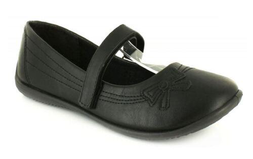 Back To School Girls School Formal Flower Ribbon Black Slip On Strap Shoes 10-5