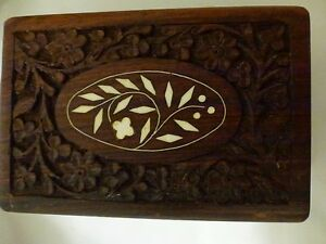 Antique Look Carved Wood Box with Leaf Stone Inlay