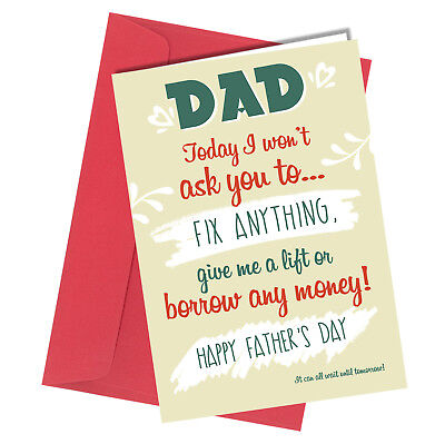 #519 FATHERS DAY Greeting Card Nursing Home LOVE  HUMOUR Funny Banter Rude
