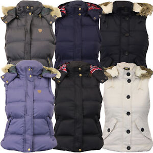 New Brave Soul Ladies Quilted Puffer Padded Womens Gilet Fur Hooded Jacket Coat