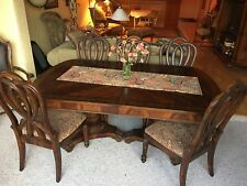 "Formal 7 Piece ""Bordeaux"" Dining Room Set Table with 18"" Leaf & 6 Chairs"
