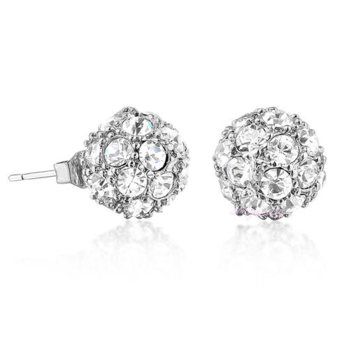 Sparkly White Gold Plated Crystal Ball Bridal Bridesmaid Prom Stud Earrings