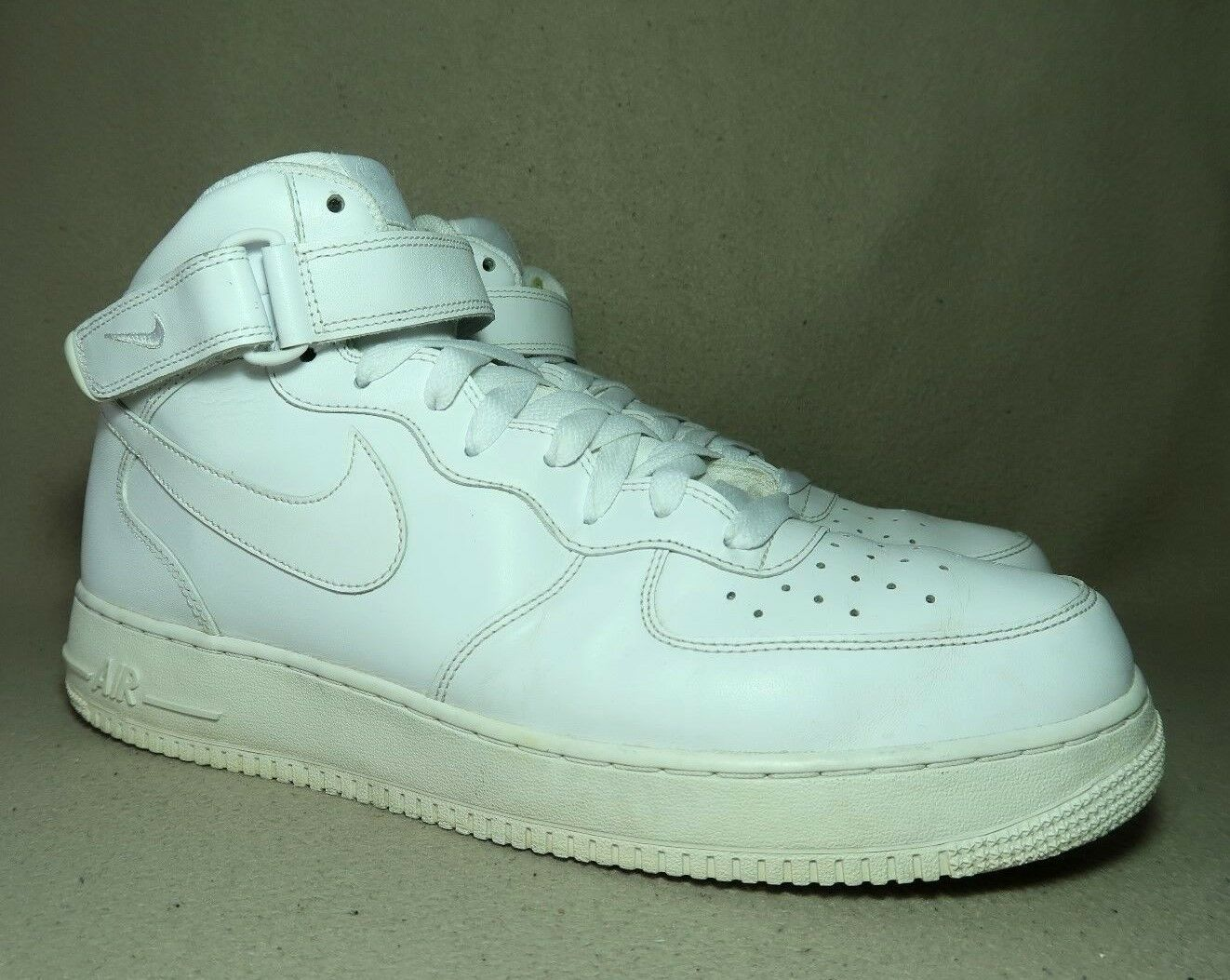NIKE AIR Obliger 1 MID Leather '07 homme Triple blanc Leather MID Trainers13/EU 48.5 b67356