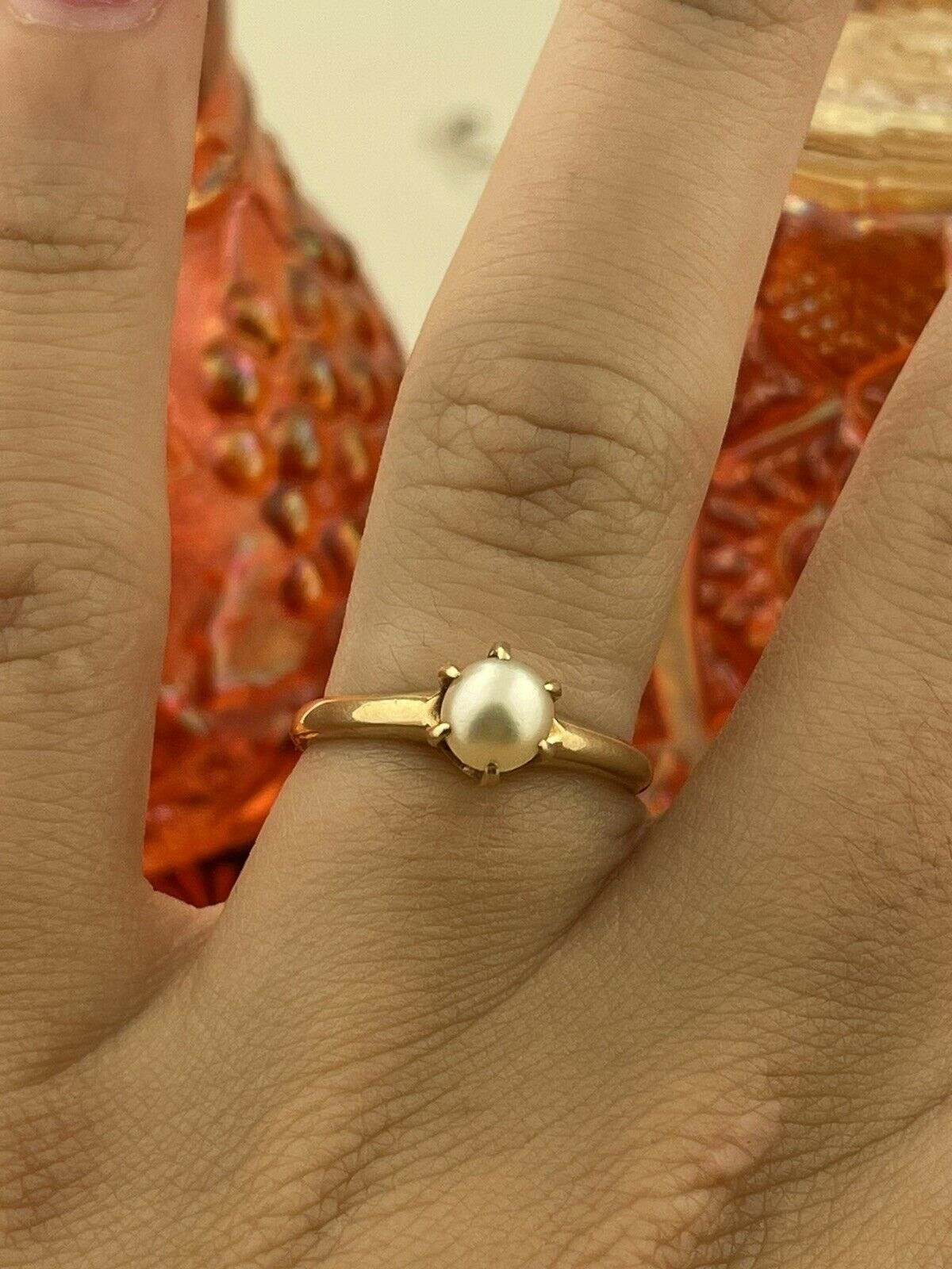 14k Solid Yellow Gold Solitaire Genuine Pearl ring - image 2