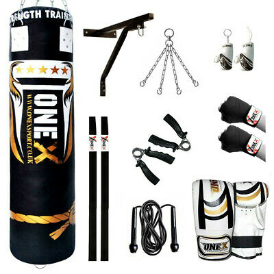 G4 Leather Cowhide Punch Bag Punching Kick Boxing Gloves Punchbag Heavy Bags MMA 4ft
