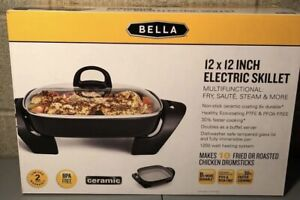 BELLA CERAMIC 12X12 INCH ELECTRIC SKILLET Multifunctional Fry,Sauté,Steam & More