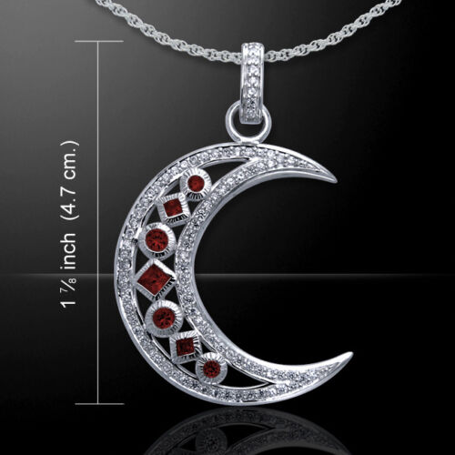 Victorian Crescent Moon Gem Stone Sterling Silver Pendant by Peter Stone Jewelry