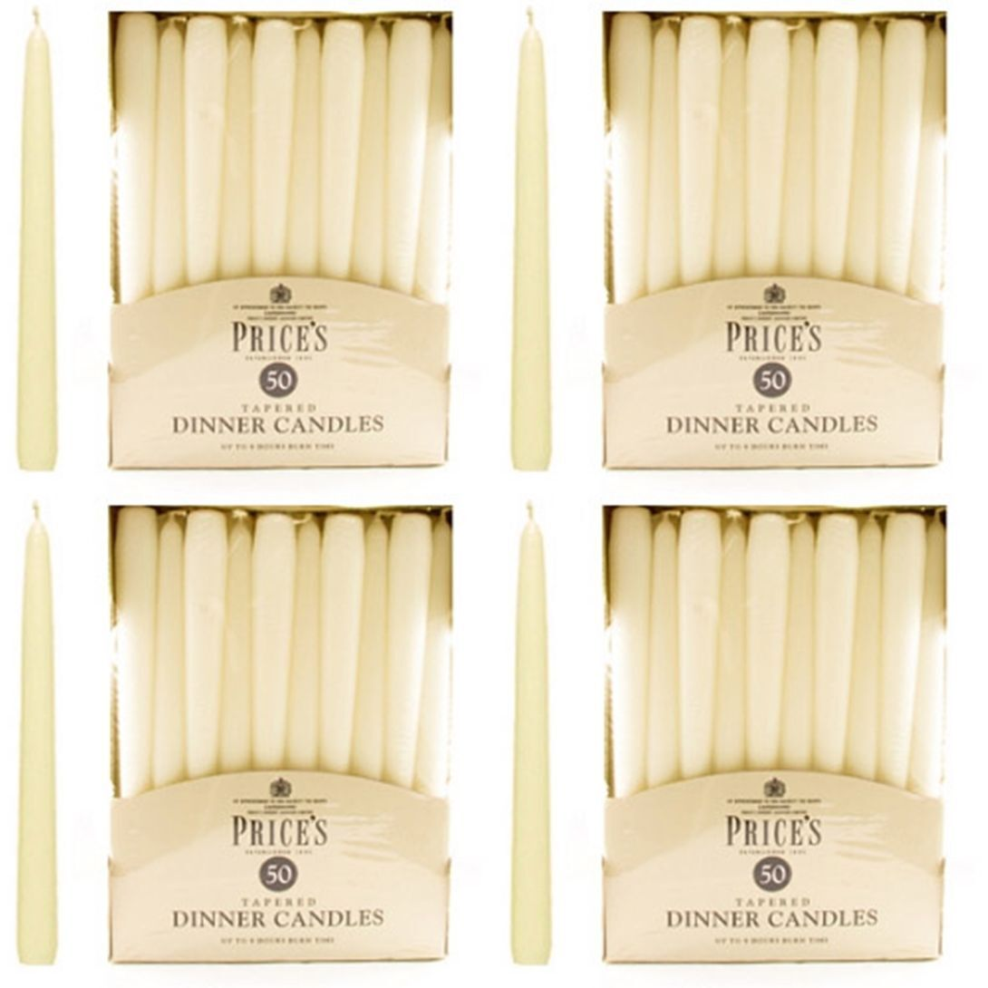 200 x Prices Wax Candles Taperot Large Dinner Candle Ivory Unscented 10