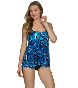 Details about Profile by Gottex Blue Tidal Wave Flyaway One Piece Swimsuit  8 NWT! G1 $138