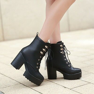 Vintage Punk Womens Chunky High Heels Lace Up Gothic Riding Ankle Boots Shoes