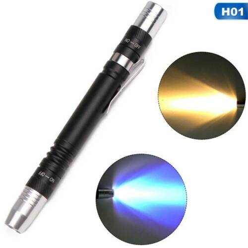 2 in 1 LED UV Flashlight Penlight pen clip Torch white Light 395nm good