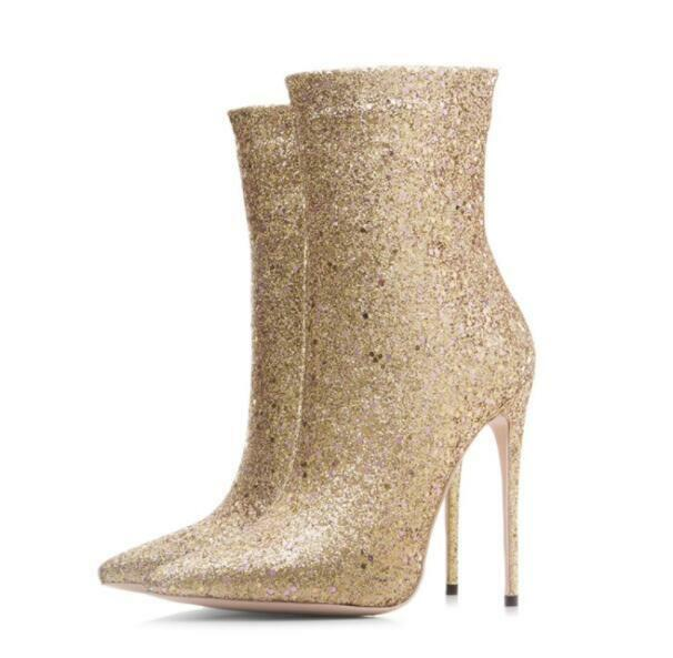Fashion Sexy 2019 Womens Pointy Toe Ankle Boots Sequins Bling High Heel shoes
