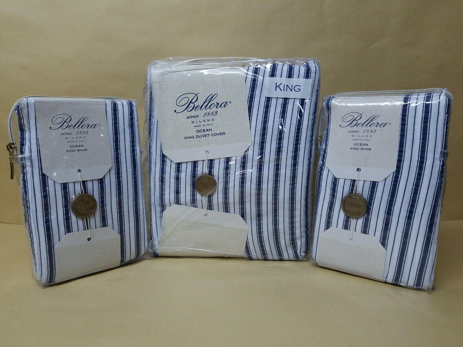 New Bellora Ocean Multi King Duver Set 3-Pcs Made in Italian Striped