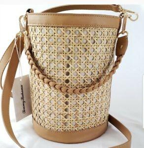 Tommy Bahama🦈 Straw Rattan Bucket Bag Drawstring Adjustable Crossbody Strap Tan