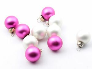 10-Czech-hand-made-glass-Christmas-tree-pink-white-ornament-bauble-decoration