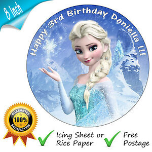 DISNEY-FROZEN-ELSA-BIRTHDAY-CAKE-EDIBLE-ROUND-PRINTED-CAKE-TOPPER-DECORATION