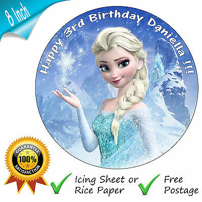 Marvelous Disney Frozen Elsa Birthday Cake Edible Round Printed Cake Topper Funny Birthday Cards Online Unhofree Goldxyz